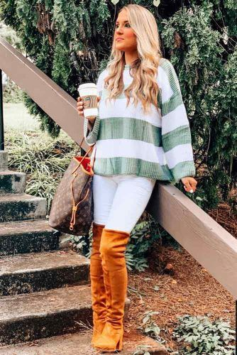 Striped Sweater With White Jeans Outfit #stripedsweater #whitejeans