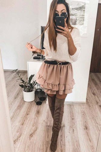 White Sweater With Ruffled Skirt #skirt #sweater