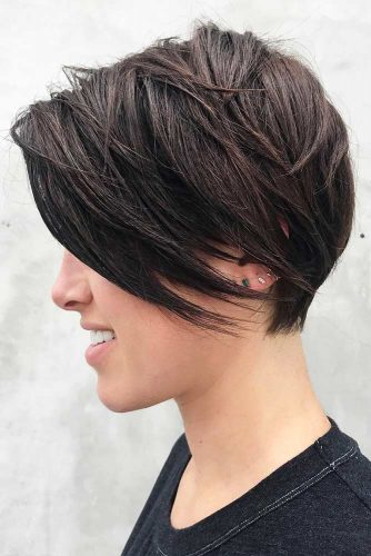 Short Crop With Long Bangs #pixie #layeredhair #bangs