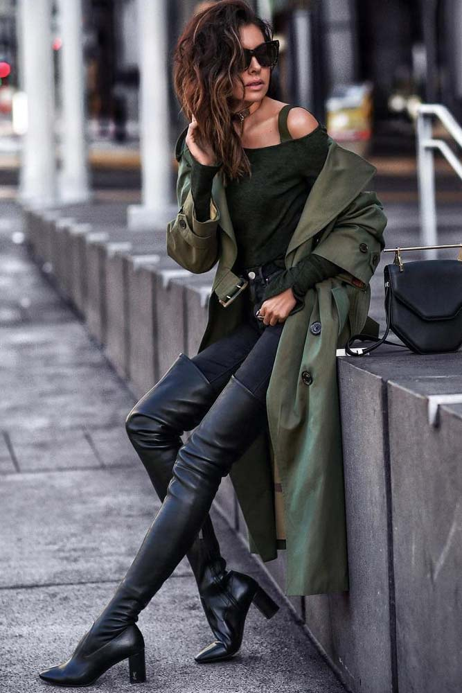 Dark Green Trench Coat With Black Monochromatic Outfit #overkneeboots