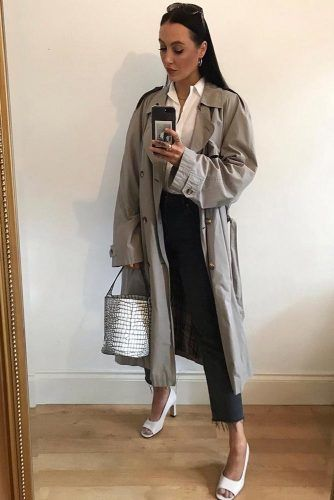 Gray Classic Trench For Casual Look #graytrench #whiteblouse