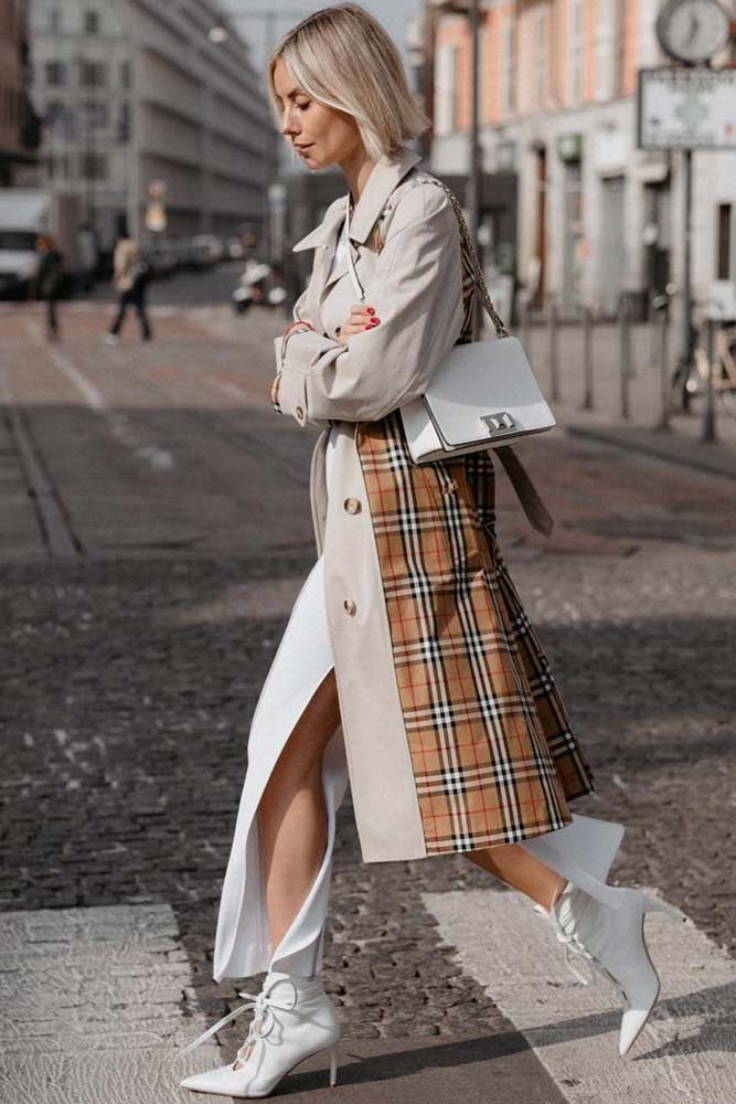 Beige Trench With Color Plaid Accents #beigetrenchcoat #plaidaccents