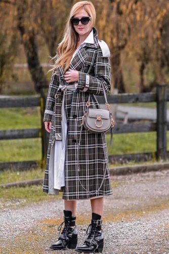 Plaid Trench Coat With White Accent #plaidtrenchcoat