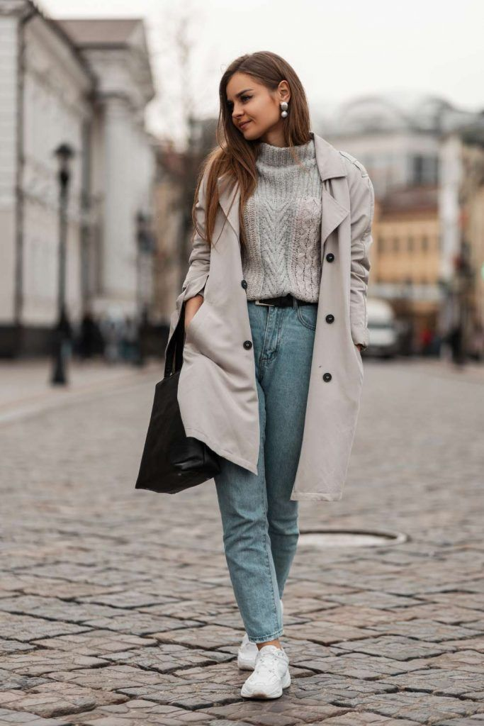 Grey Trench with Sweater