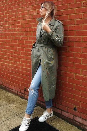 Khaki Trench With Art Dots #khakitrenchcoat