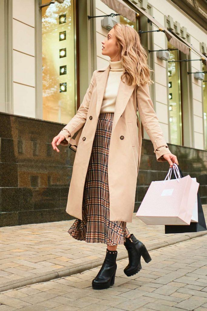 Trench Coat with Midi Skirt