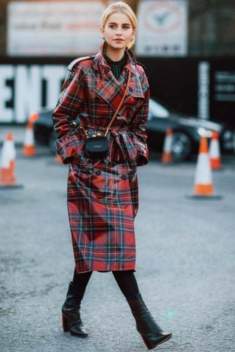 Vinyl Red Plaid Trench Coat #vyniltrenchcoat #plaid