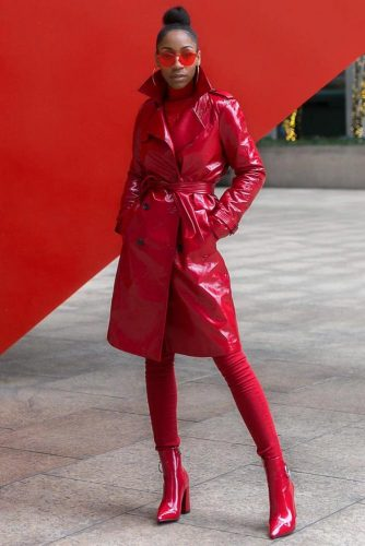 Monochromatic Red Outfit With Vinyl Coat #redtrench