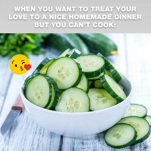 When you want to treat your love to a nice homemade dinner but you can't cook #lovememes #relationshipmemes #realtalksmeme