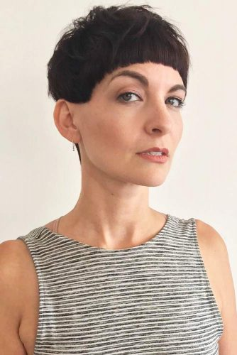 Short Bowl Cut With Above-Brows Fringe #bowlcut #bangs #pixie