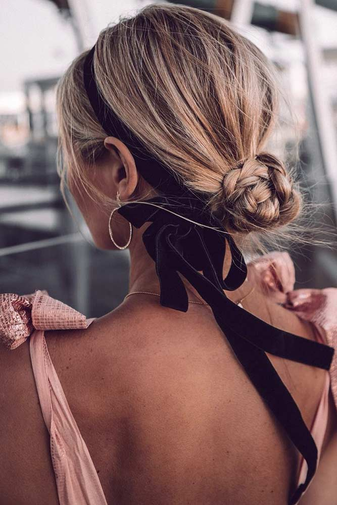 A Messy Low Braided Bun #bun #braids #updo