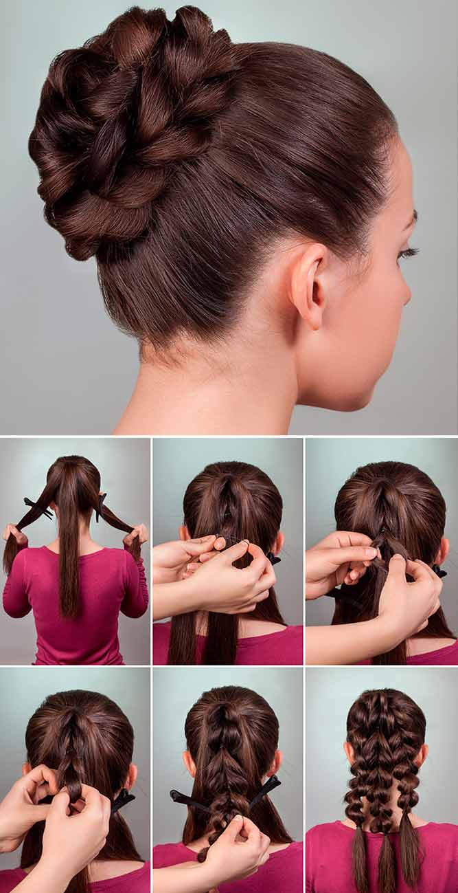 Braided Bun Updo Tutorial #braidedhairstyles #easytutorial