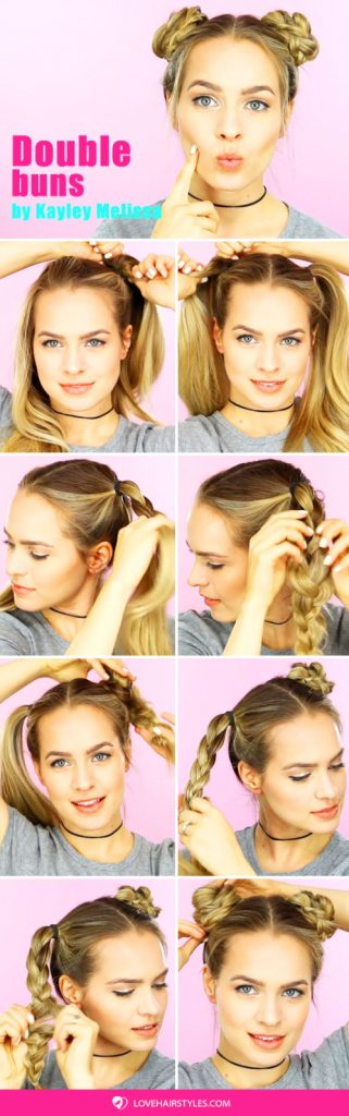 A Double Buns Updo Tutorial #hairtutorial #bun #braids