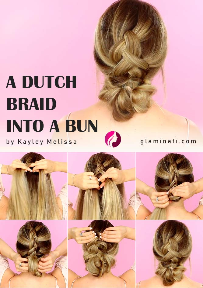 A Dutch Braid Into A Bun Tutorial #dutchbun #bunupdo