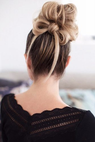 A High Bun And A Bow Idea #bun #updo