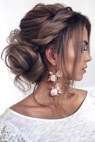 A Half Wrapped Low Bun #updo #bun #bangs