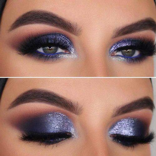 Blue And Silver Smokey Eyes Makeup #bluesmokey
