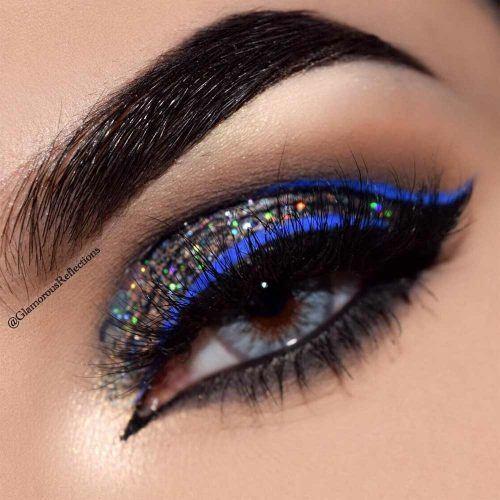 Dark Gray Glitter Cut Crease With Blue Eyeliner #blueeyeliner