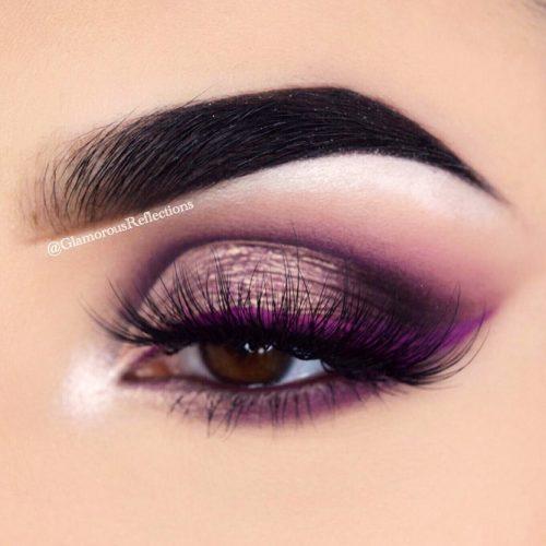 Smokey Eyes Makeup With Color Eyeliner #purpleline