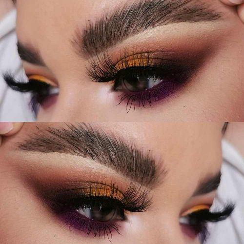 Yellow And Purple Smokey Eyes Makeup #smokeyeyes