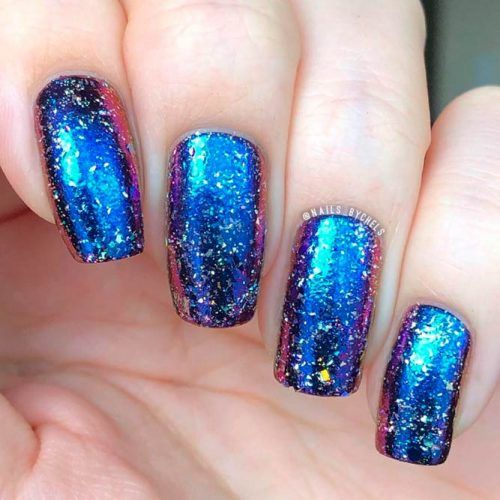 Holo Duochrome Nails #easynailart