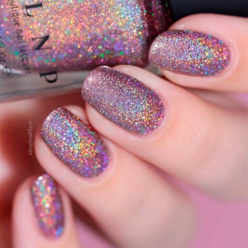 Rainbows Effects On Your Nails #sparklynails #shortnails