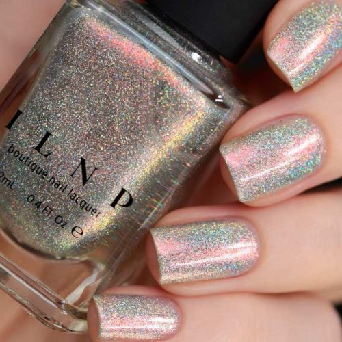Color Kissed Ultra Holo, Rosewater #sparklynails #holonails #shortnails