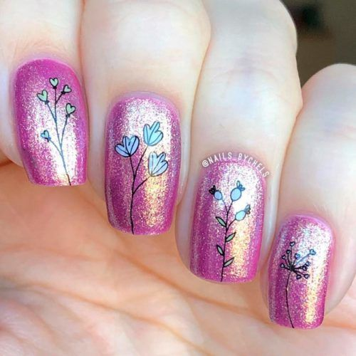 Dainty Flowers With Holographic Base #floralnails #prettynails