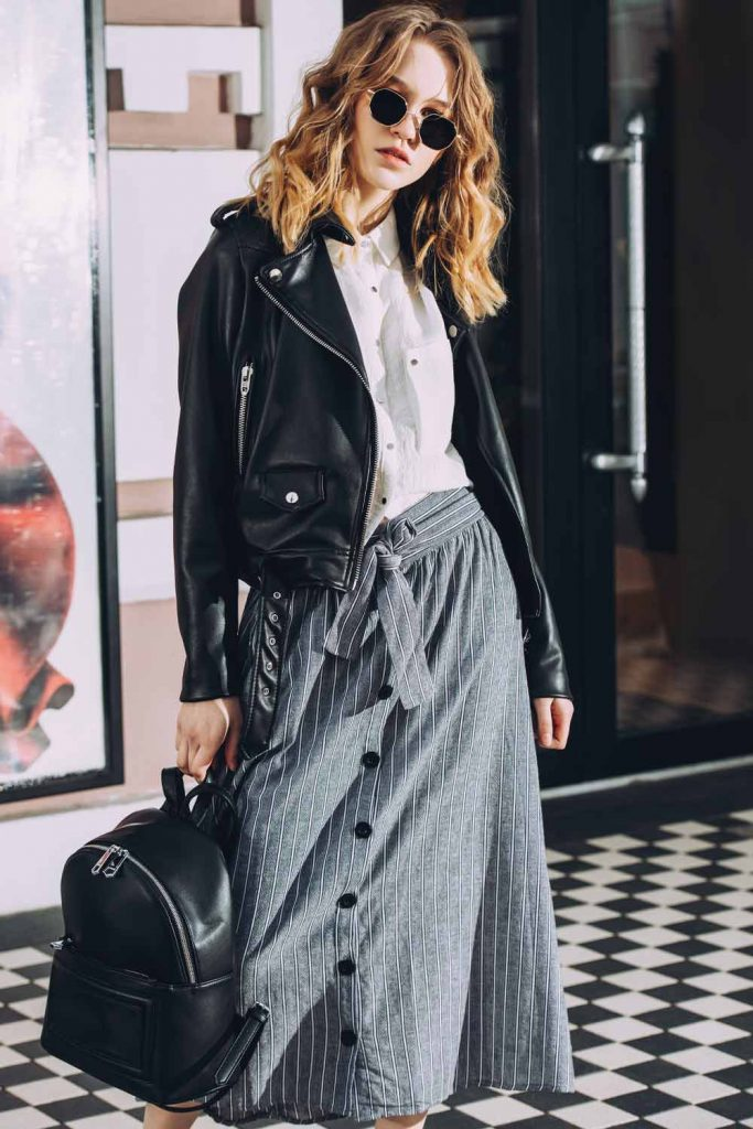 Long Skirt With Leather Jacket
