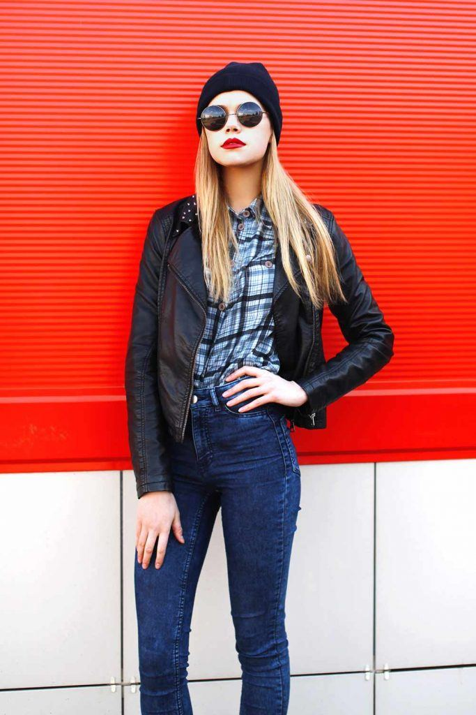 Leather Jacket with Plaid Shirt
