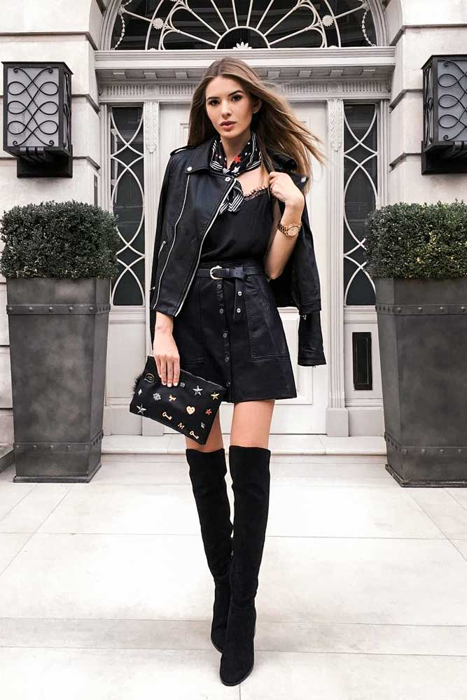 Monochromatic Leather Jacket Outfits With A Skirt And OTK Boots #overthekneeboots