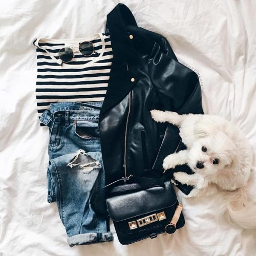 A Lifesaving Leather Jacket For Women Combination #flatlay #flatlayclothes