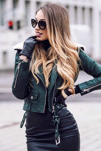 A Green Leather Jacket With A Sexy Leather Skirt #greenleatherjacket #greenjacket