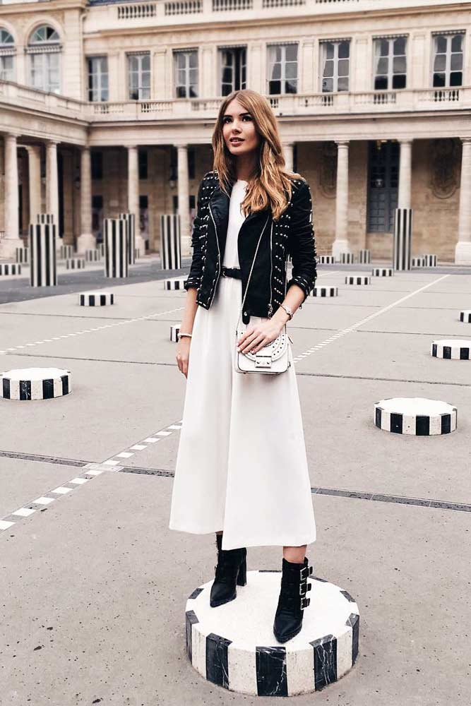 Emphasize Your Femininity With A Long Dress And A Leather Jacket #longdress #whitedress
