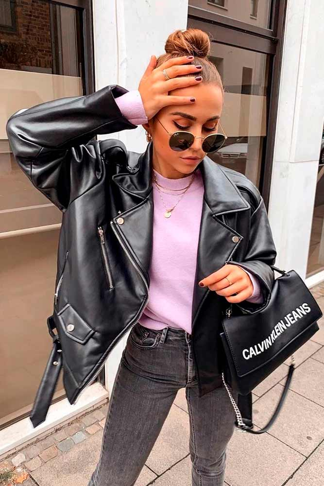 Casual Look With Oversized Biker Jacket #outfit