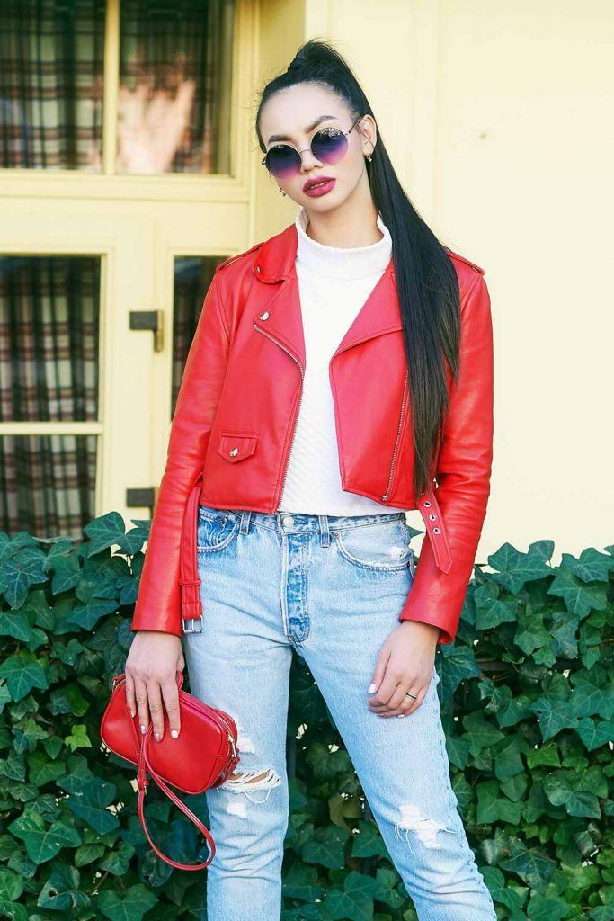 Red Leather Jacket With Ripped Jeans