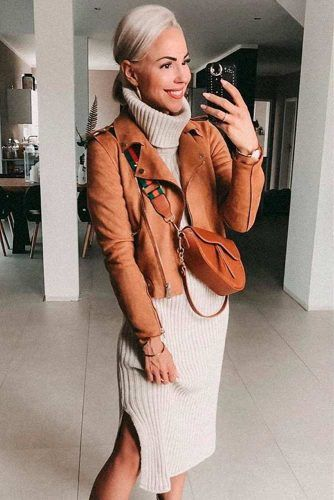 Suede Jacket With Sweater Dress #sweaterdres