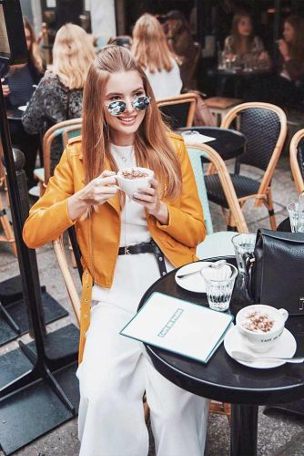 A Bright Yellow Leather Jacket For Good Mood Every Day #yellowleatherjacket #whiteoutfits