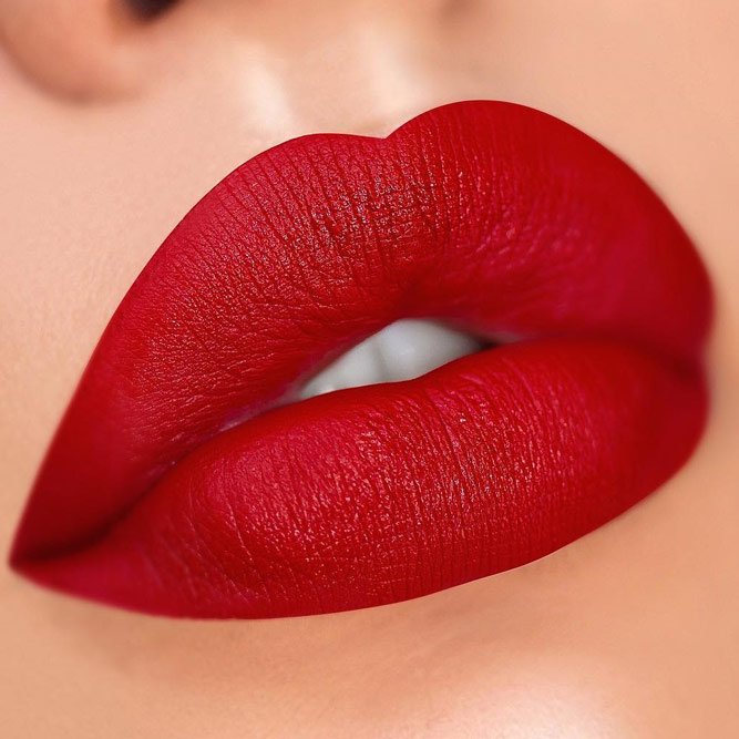Red Shade For Blonde Hair Girls #redlipstick #blondehair