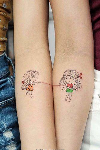 Cute Sister Tattoo With Girls #armtattoo #tattooforgirls