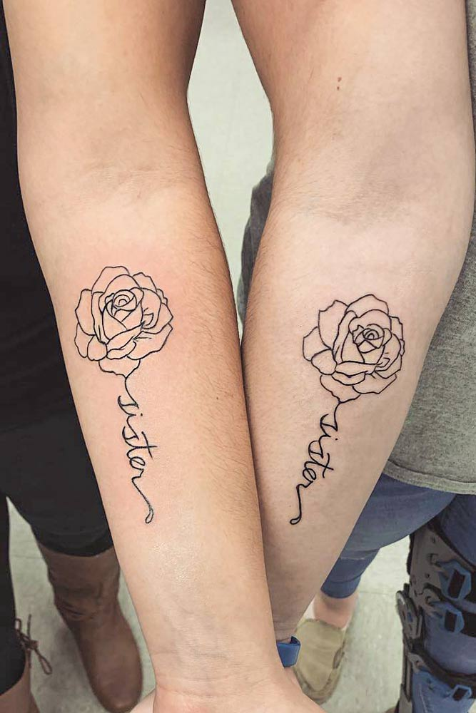 Outline Sister Tattoo With Flowers And Lettering #rosetattoo