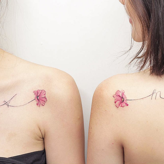 Flower Tattoo Design With Letters #flowertattoo