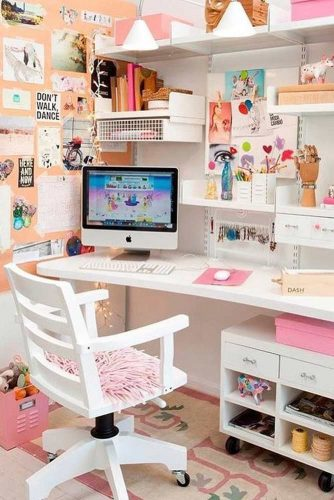 Well Organized Modern Girly Study Room #girlystudyroom #pinkcolor
