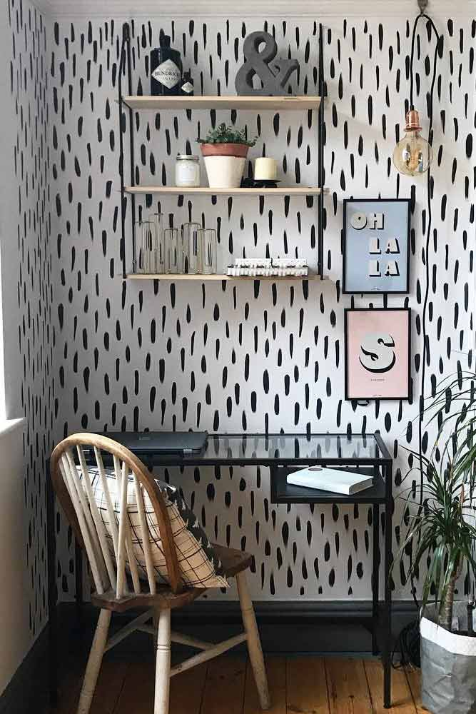 Study Room With Rustic Chair #patternwall