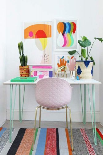 Colorful Study Room Decor In Boho Style #plants #pinkchair