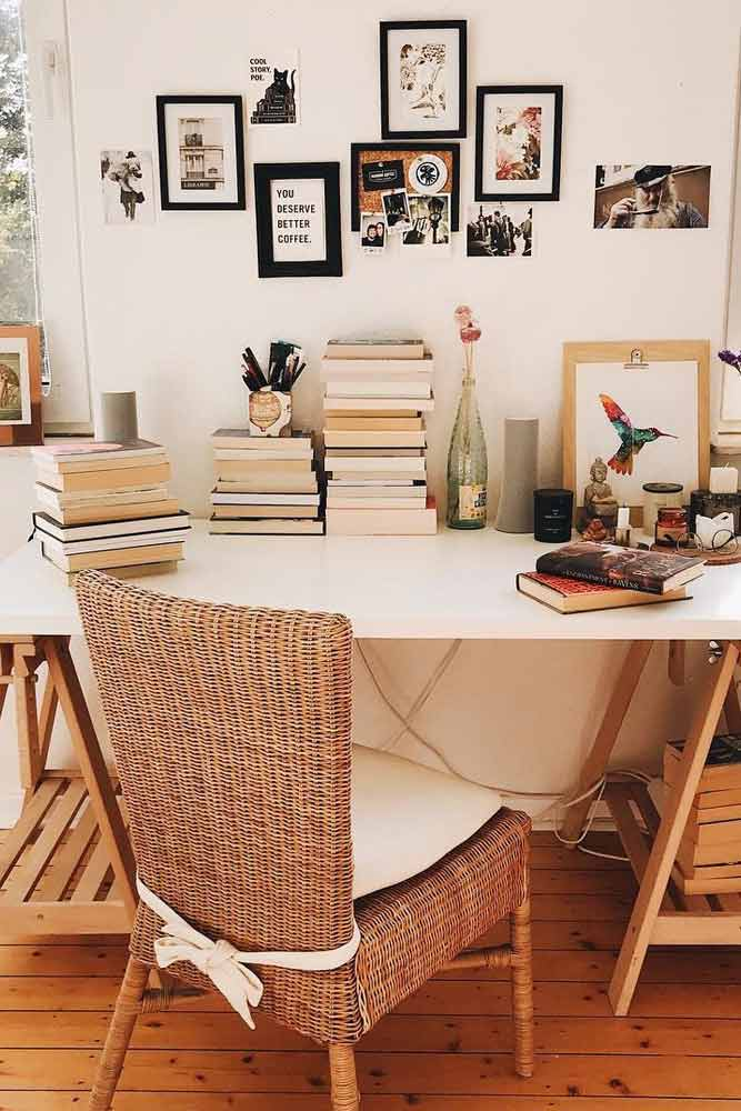Rustic Classic Study Space #photoframe #rusticchair