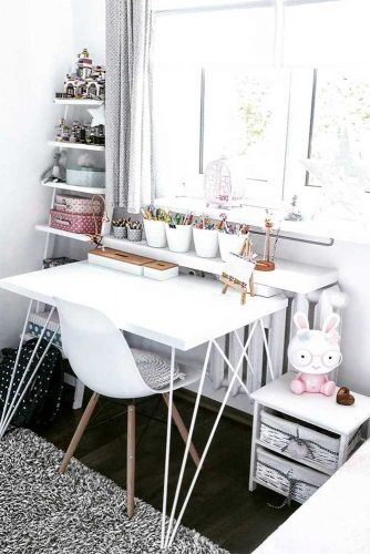 Modern Kids Study Room With Shelves For Child Stuff #kidsstudyroom #kidsspace