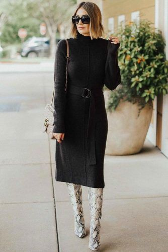 Black Midi Dress With Belt #blackdress