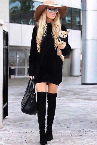 A Classic Black Sweater Dress Design #black #overkneeboots