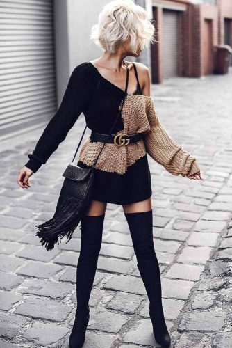 A Short Knit Sweater Dress #shortknitdress